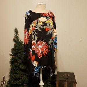 3/4 sleeve asymmetrica tunic floral vibrant colors